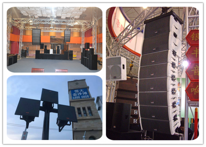 High Output Outdoor Professional Line Array Speaker Boxes With Sand Texture Paint Pa System